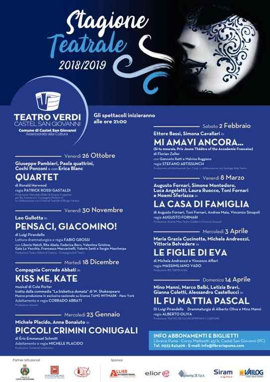 Teatro Verdi Castel San Giovanni Stagione 2018-2019