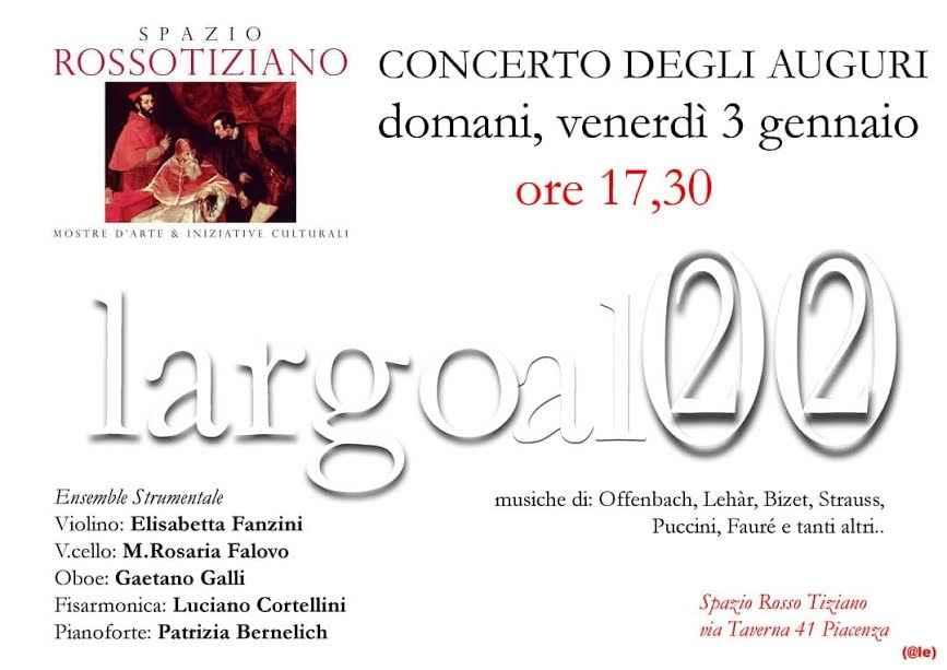 Concerto degli auguri il 3 gennaio allo spazio Rosso Tiziano