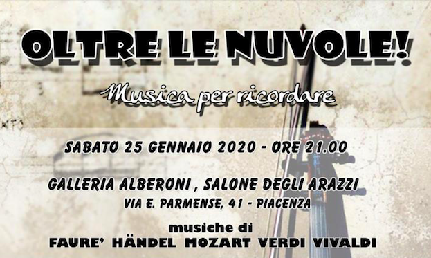 Oltre alle Nuvole, Musica per ricordare il 25 gennaio alla Galleria Alberoni