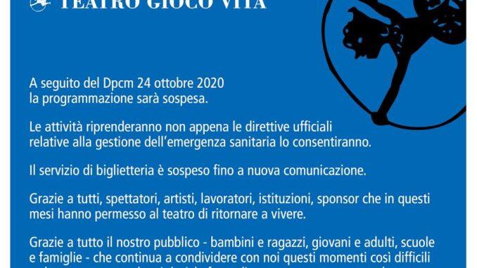 Dpcm, Teatro Gioco Vita sospende le attività fino a nuove direttive ufficiali