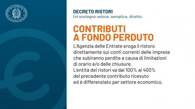 Decreto Ristori: contributi a fondo perduto
