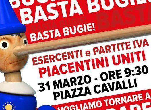 """Basta Bugie, in Piazza Cavalli il 31 marzo protesta di esercenti e Partite Iva, Lertora: """"Vogliamo tornare a lavorare"""" - AUDIO"""