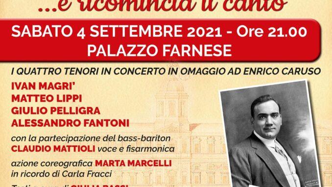 Il tenore: Eroe o Vittima? Il 4 settembre a Palazzo Farnese lo spettacolo degli Amici della Lirica